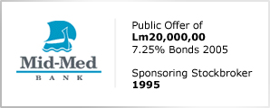Mid-Med Bank - Public Offer of Lm20,000,000 - 7.25% Bonds 2005