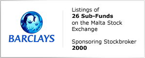 Barclays - Listings of 26 Sub-Funds on the Malta Stock Exchange