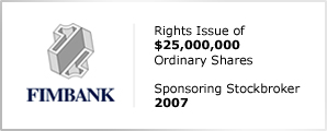Fimbank plc - Rights Issue & Offer of $25,000,000 - Ordinary Shares