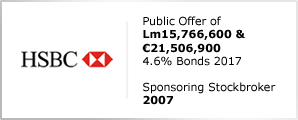 HSBC - Public Offer of Lm15,766,600 & €21,506,900