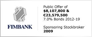 Fimbank plc - Public Offer & Offer of $8,107,800 & €23,579,500 - 7.0% Bonds 2012-19